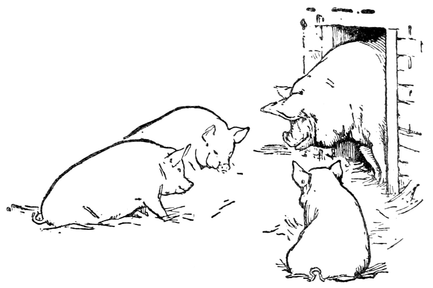 1491x994 Illustration In English Fairy Tales, Jacobs, J., 1895, via Boston Public Library, Three Little Pigs, in Three little pigs scared of big bad sun and wind wolves, by John S. Quarterman, for WWALS.net, 8 January 2018