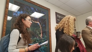 Vicki Machado and John Moran painting in Sen. Perrys office, Sen. Keith Perry