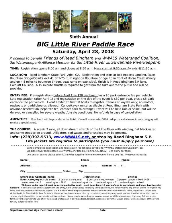 BIG Little River Paddle Race flyer, Page
