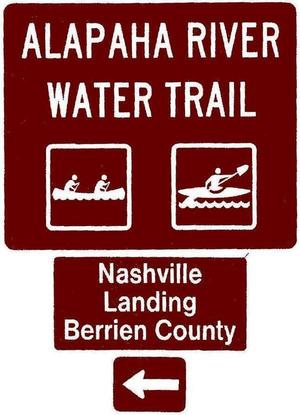 300x415 Nashville Landing, Berrien County, Left, Posts, in Road signs for Alapaha River Water Trail, by John S. Quarterman, for WWALS.net, 26 February 2018