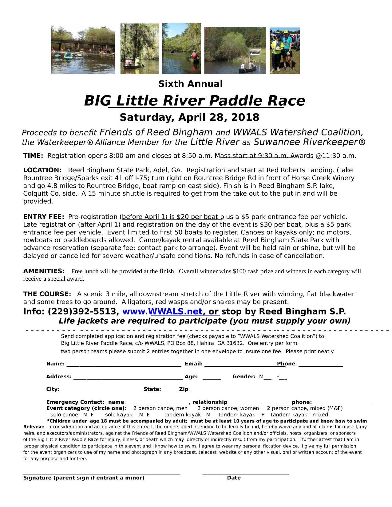1275x1651 BIG Little River Paddle Race flyer, Page, in BLRPR Poster, by Bret Wagenhorst, for WWALS.net, 28 April 2018