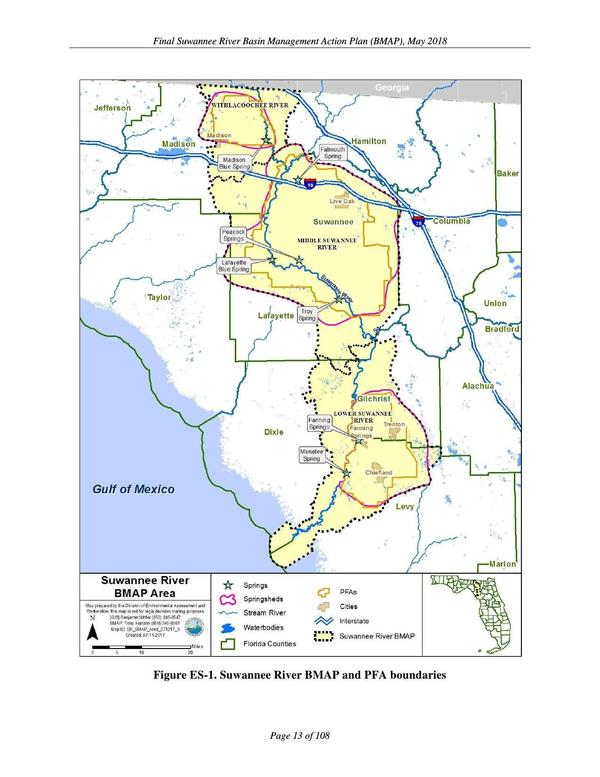 Suwannee River BMAP and PFA boundaries, The Problem
