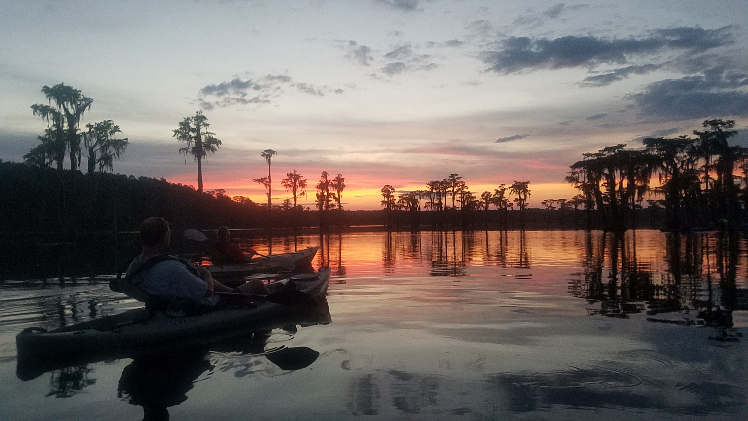 2560x1440 Sunset, On the water, in Banks Lake Sunset Paddle, by John S. Quarterman, for WWALS.net, 27 July 2018