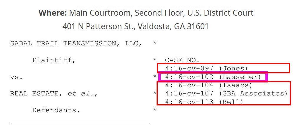 997x438 Cases No. 4:16-cv-092 (Jones), -104 (Isaacs), -107 (GBA Ass.), -113 (Bell), Federal Building, Valdosta, GA, in Sabal Trail Jury Trial in Valdosta, GA 2018-06-25, by John S. Quarterman, for WWALS.net, 25 June 2018