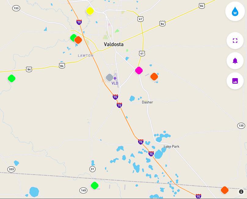 809x652 Valdosta stations, Map, in Valdosta water quality testing data, by John S. Quarterman, for WWALS.net, 28 September 2018