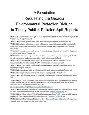 WHEREAS, clean water is a basic right of all Georgia citizens..., Text