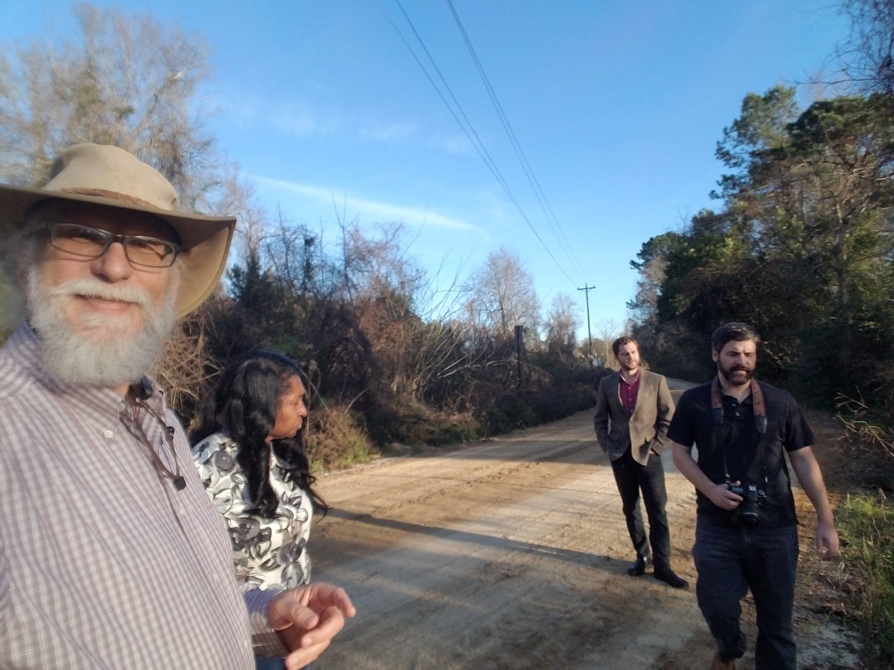 1296x972 Reporter and photographer at Beatty Branch, 2019-01-07, VDT, in Testing for firefighting chemicals in wells and waterways, by John S. Quarterman, for WWALS.net, 18 January 2019