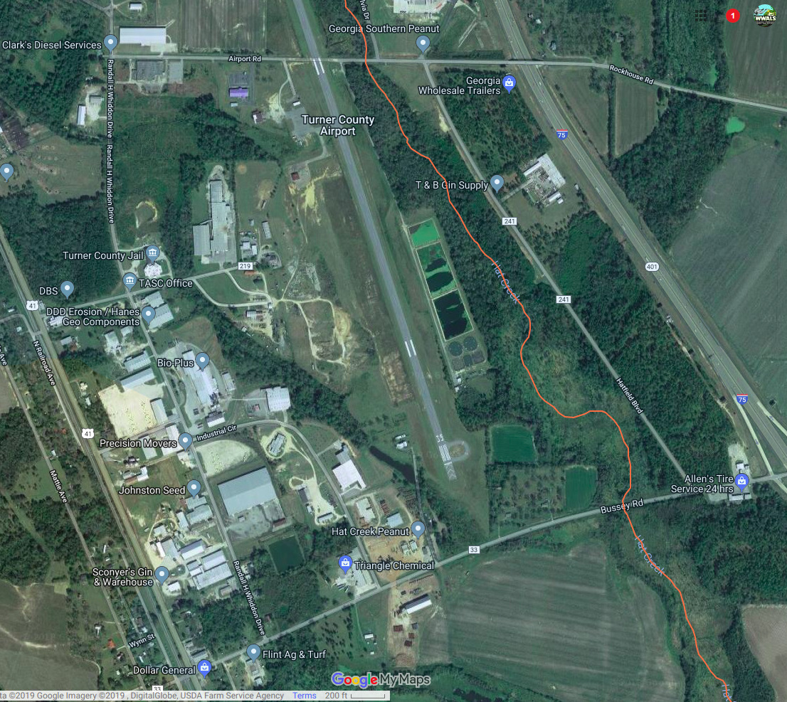 1106x987 Google Map, Map, in Ashburn, GA, spilled at top of Little River Basin, by John S. Quarterman, for WWALS.net, 22 January 2019