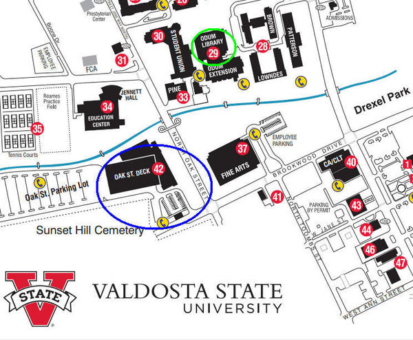 Odum Library and Parking, VSU Map