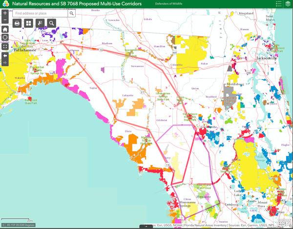 Map, Suncoast Connector, Defenders of Wildlife