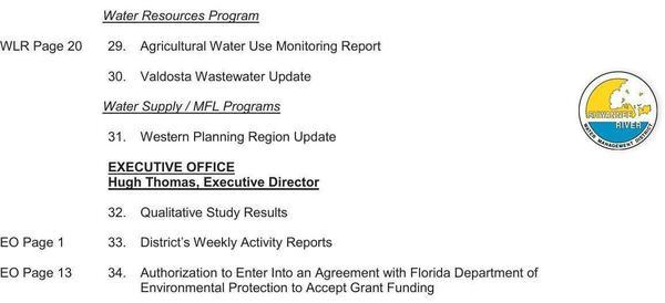Water Ressource Program & E.D., Agenda