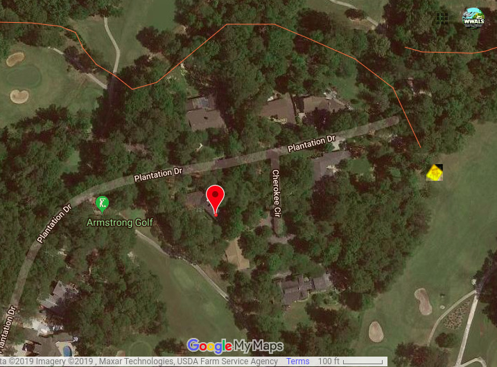 717x530 3353 Plantation Drive is not the spill location, Google Map, in Posted: Valdosta Country Club Sewage Spill, five days afterwards, by John S. Quarterman, for WWALS.net, 26 August 2019